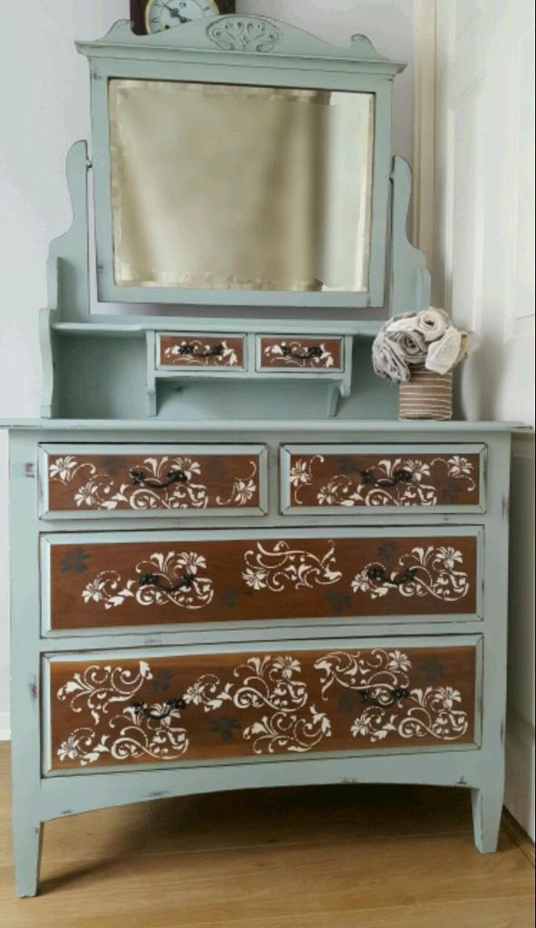 Shabby Chic Revamped Edwardian Dressing Table Chest Of