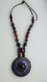 STATEMENT NECKLACE - PURPLE ENAMEL AND BEAD NECKLACE