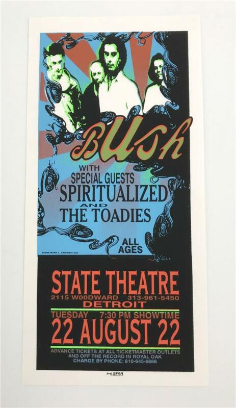 BUSH SPIRITUALIZED TOADIES ROCK CONCERT SILKSCREEN HANDBILL POSTER MARK ARMINSKI