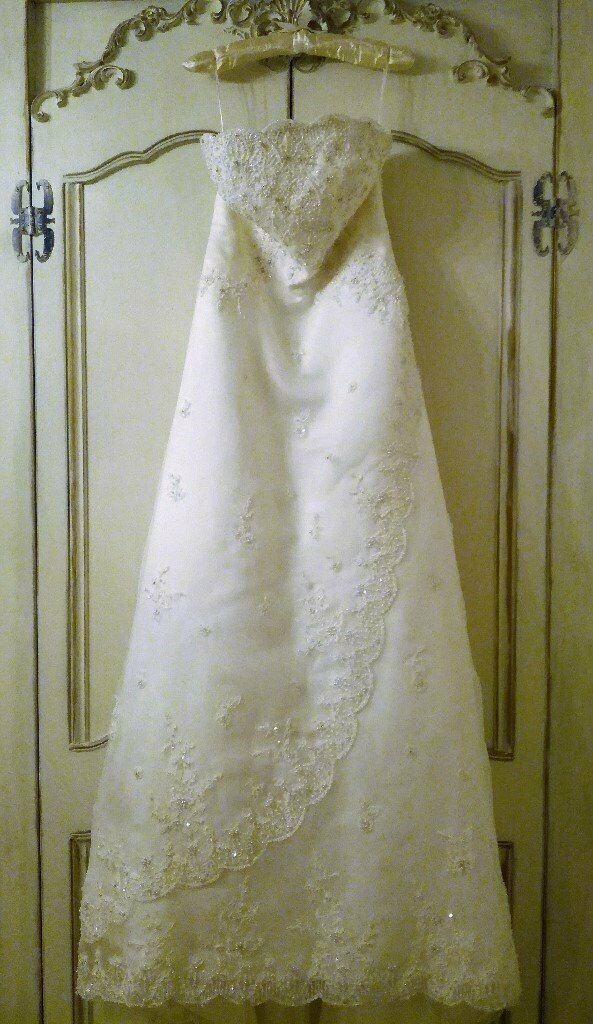 0e1c97fd36 TRUDY LEE DESIGNER WEDDING DRESS Ivory White Strapless Pearl Diamante Bead  Embroidery Net Satin