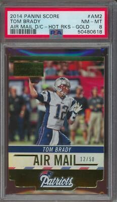 2014 Panini Score Air Mail Die Cut Gold Tom Brady Jersey #12/50 PSA 8