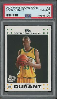 2007 Topps Rookie Card #2 Kevin Durant RC PSA 8