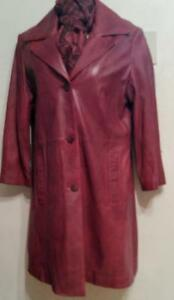 "Oakville DANIER Womens 12 Large 40"" bust Burgundy Long Leather Coat Nearly New plus Free Scarf"