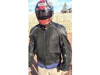 Shoei helmet and Cortech bike jacket.