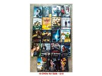 19 DVDs for sale only played once. Like new. Latest titles - See list below.