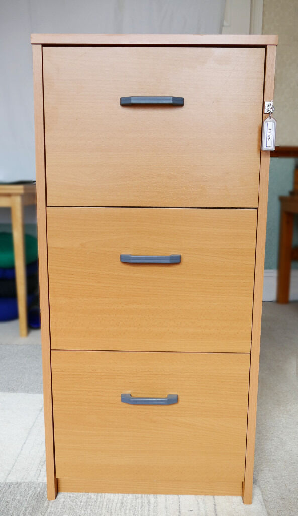 3 Drawer Filing Cabinet Beech Wood Effect For Foolscap Suspension Files Lockable