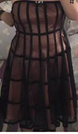 Teatro prom evening dress size 16, peach with black mesh overlay formal