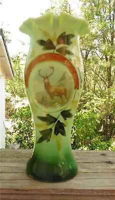 Antique-Vintage Hand Blown & Hand Painted Green Elk in Mt. Art Glass Vase ()