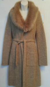 Oakville NEW Womens M ANGORA WOOL Long Sweater Coat Faux Fur Collar Warm Soft Brown Cardigan HAND-KNIT Knitted Medium 12