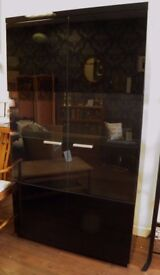 Stunning Black High 'ZONE' Glass Fronted Display Cabinet - WE CAN DELIVER