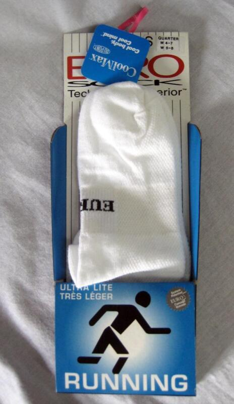 Euro Unisex Ultra Light Marathon Running Socks Color white Size Small NEW
