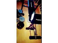 Bench press, bicep curl and leg extention new