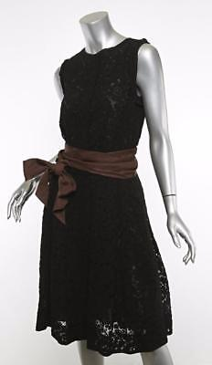 Lanvin Damen Schwarze Spitze & Braun Sash-Belt Schlaghose Ärmelloses Kleid 8-40 Schwarzes Kleid Hose