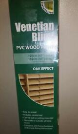 "VENETIAN BLIND, WOOD EFFECT SIZE 47"" X60 ""DROP (NEW)"