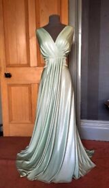 Flattering Shimmer Green Grecian Biba Dress Size 14