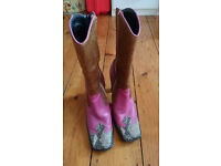 Vintage 1970s leather and fur UK size 6 heeled boots