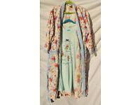 "Ladies White Flowery Dressing Gown C51"" & Plus Size Teddy Nighty C55"""
