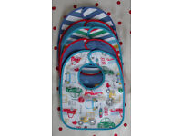 5 NEW plastic back/cotton bright/vehicle bibs with hook and loop closure. £2.50 ovno the lot.