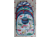5 NEW plastic back/cotton bright/vehicle bibs with hook & loop closure. £2.50 ovno lot. Can post.