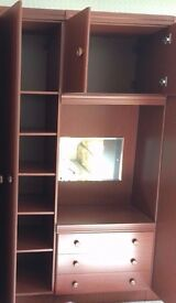 Wardrobe with shelves and drawers (mirror broken)