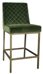 4 - Green Velvet Counter Stool with Bronze/Gold Steel Frame on SALE