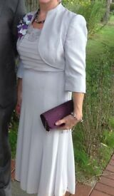 Occasion outfit . Size 10, Jaques Vert pale grey chiffon dress and matching silver bolero.