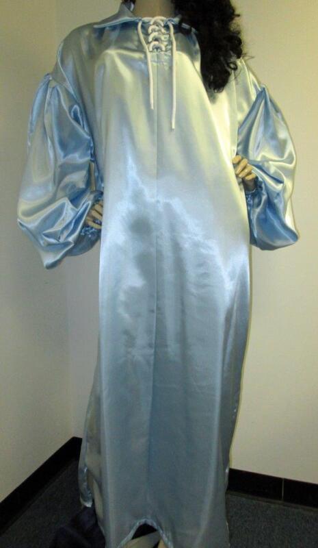 PLUS SIZE SATIN! Shiny Powder Blue Acetate Satin Balloon Shirt Style Gown