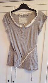 ALL SAINTS grey asymmetric design t-shirt - UK size 10