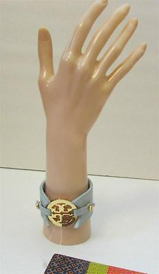 Tory Burch Logo Double Snap Cuff bracelet gold logo Sky blue leather wide New