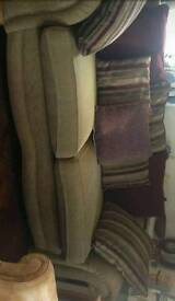 Large 2 - 3 seater sofa settee good quality gold and red