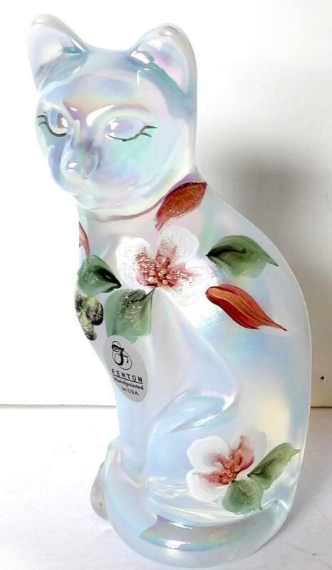 Fenton Glass Stylized Carnival CAT FIGURINE Hand Painted D Fredrick 1985-1996