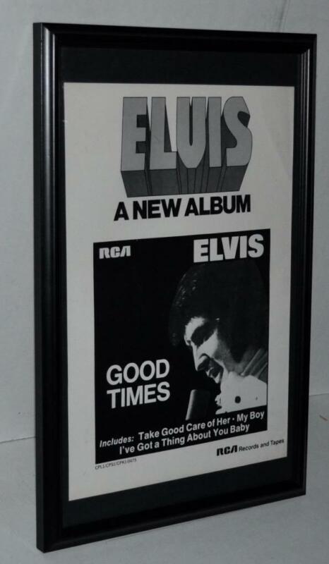 ELVIS PRESLEY 1974 NEW ALBUM GOOD TIMES FRAMED PROMOTIONAL POSTER / AD