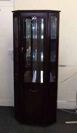 Dark wood corner display with mirrors and lights 785 x 380 x 1900