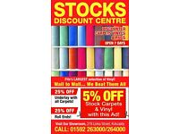 Stocks Discount Carpets, for best prices on carpets and vinyls.