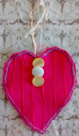 HEART YELLOW AND WHITE BUTTONS HANDMADE HOME HANGING DECOR