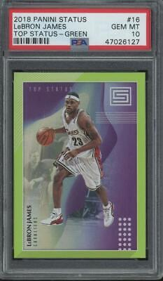2018 Panini Status Green Top Status #16 LeBron James Gem Mint PSA 10