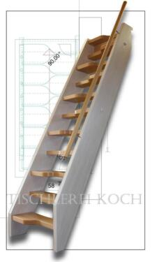 Bekannt kleine Raumspartreppe, gerade Treppe aus Buche in Sachsen KG62