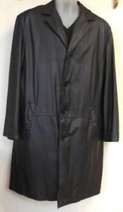 Large DANIER MENS LONG TALL BLACK LEATHER JACKET 44 COAT MIDWEIGHT SUPERSOFT