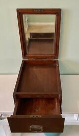CIRCA 1890 INDIAN VICTORIAN TRAVEL / STORAGE / TOILETRY BOX WITH LOWER DRAWER AND MIRROR