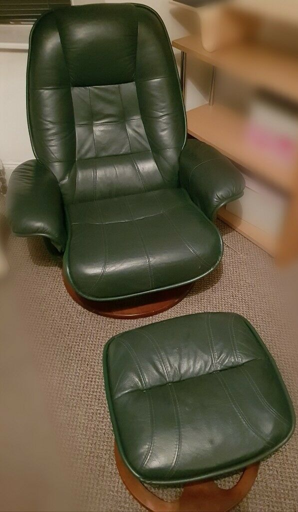Ordinaire Green Leather Recliner Chair And Footstool