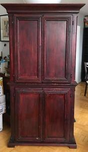 Cherry Stained Corner Cabinet