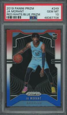 2019 Panini Prizm Red White Blue #249 Ja Morant RC Rookie Gem Mint PSA 10