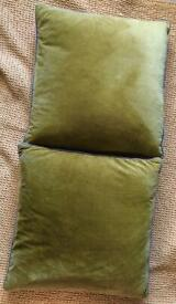 2 x olive green velvet Paoletti cushions duck feather filled. £15