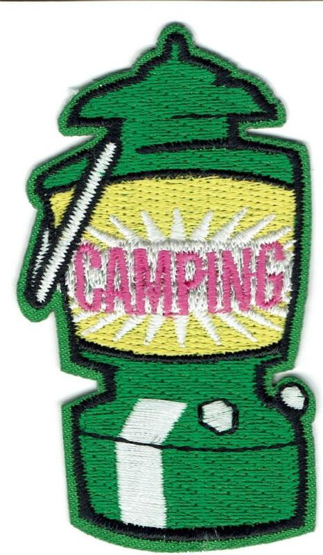 girl boy cub CAMPING CAMPOUT GREEN LANTERN Fun Patches Badges Crest SCOUT GUIDES