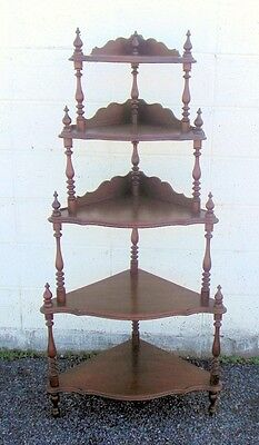 Antique VICTORIAN Walnut Corner Display Shelf Etagere