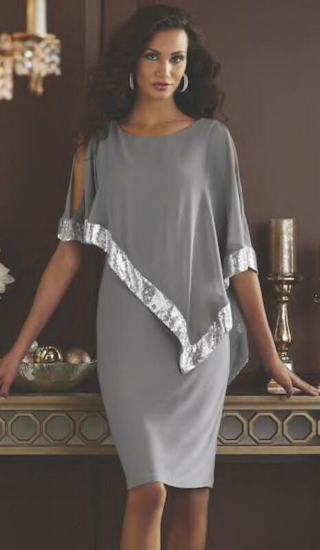 size 14 Gray Silver Sequin-Trim Formal 1920s Inspired Capelet Clarice Cape Dress