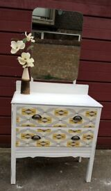 2 drawer dresser with mirror, hand painted distressed decorative wax finish