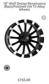 "Alloys Rims 120x5 Wheels Tires Black Silver Wolf Race 18"" inch Continental"