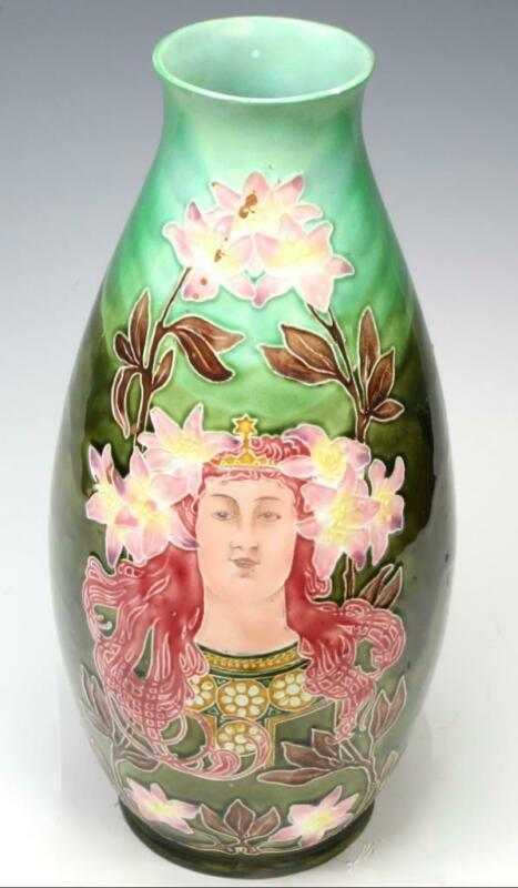 Antique Art Nouveau Amphora Bohemia Pottery Vase Austria Woman Floral Ceramic