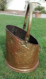 COAL SCUTTLE - OLD HAMMERED BRASS